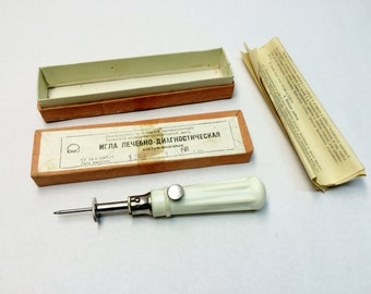 vintage medical needle medical diagnostical needle medic tool Soviet Medical tool surgical tool needle biopsy bone marrow soviet