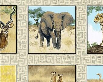Andover - Safari - Makower UK - TP-1532-1 - Elephants - Cheetah - Lion - Giraffe - Zebra - Animals