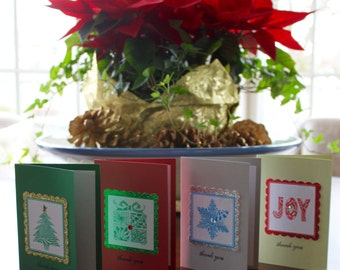 Holiday Thank You Cards with hand-drawn Zentangle® Inspired Art