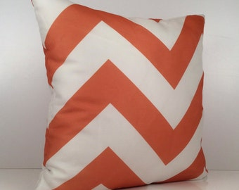 Pure White & Orange Pillow, Chevron Pillow, Throw Pillow Cover, Decorative Cover, Cushion Cover, Accent Pillow, Sheer Fabric, Home Decor