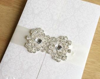 Luxury Wedding Invitation,Luxury Wedding Invitations With Big Rhinestone Crystal,Luxury Gate Fold Wedding Invitation,Envelope with Liner