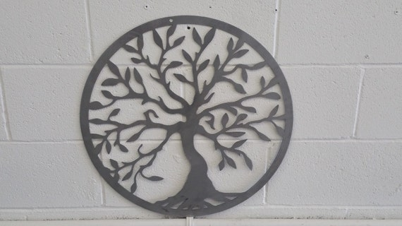 Round Outdoor Wall Decor : Items similar to quot bare metal tree of life home room