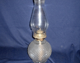 Full Sized Anchor Hocking Diamond Pointe Oil Lamp