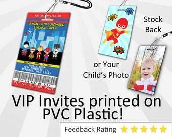 Superhero Invitation PLASTIC Superhero, Superhero Invitation, Birthday Invitation, Birthday Invite, Superhero Birthday Invitation
