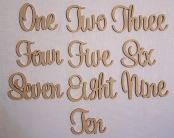 Set of 5, 7, 8 or 9 Wedding Wooden Table Numbers