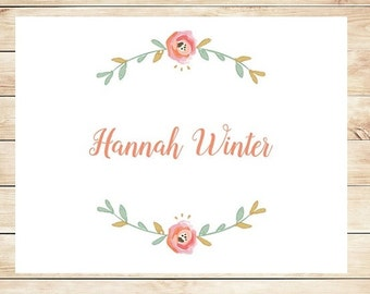 Floral Blush Stationery - Fancy Personalized Stationary - Floral Stationery - Watercolor Flower Stationery