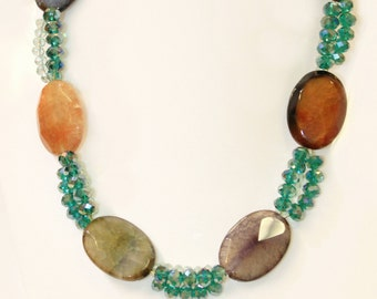 Agate/Semi precious Stone Long Necklace with Green Crystal Beads