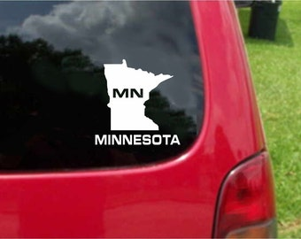2 Pieces Minnesota MN State USA Outline Map Stickers Decals 20 Colors To Choose From.  U.S.A Free Shipping