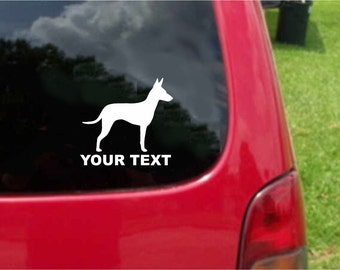 Set (2 Pieces) Manchester Terrier Dog  Sticker Decals with custom text 20 Colors To Choose From.  U.S.A Free Shipping