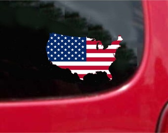 Usa Map Decal Etsy Us Map Flag