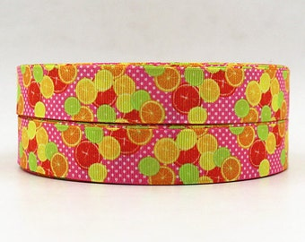 7/8 inch Oranges / Lemons / Orange Lemon Fruit LEMONADE - Printed Grosgrain Ribbon for Hair Bow