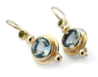 Blue Topaz round earrings, 14K yellow gold earrings, Topaz and Peridot earrings, drop earrings, small wedding earrings, gemstone earrings
