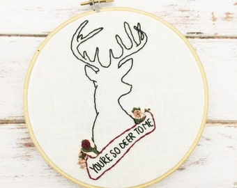 Deer embroidery Valentines day gift for her Floral embroidery Rustic home decor Custom needlepoint Embroidery hoop art Deer head silhouette