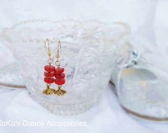 Red coral and ginkgo leaf charm earrings