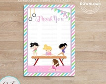 50% OFF SALE Gymnastic Thank you card, Note card, girl gymnast tumbling, Birthday party decorations, Party supplies, Instant Download