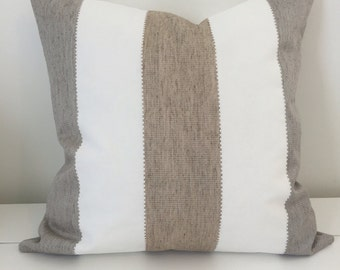 Neutral pillow cover, Nautical pillow, Sand Brown and Gray stripe pillow cover