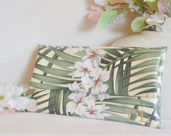 Personalized leather purse - monogram clutch - tropical purse - floral bridesmaid clutch - bridal purse - color block fold over clutch