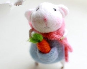 wool felt diy kit needle felt kit --- mice  style 89