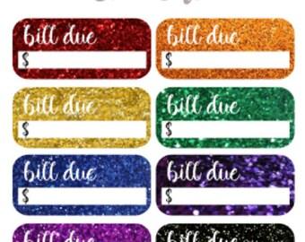 Glitter Bill Due Stickers   Reminder   Glitter   Planner Stickers   Matte  Glossy