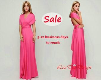 Hot pink convertible dress, infinity dress, Long convertible dress, bridesmaid dresses, convertible wrap dress
