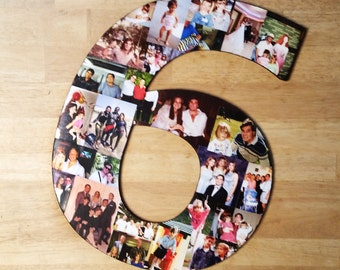 Photo Collage, Photo Collage Number, Photo Collage on Wood, Custom Photo Collage, Collage, Personal Photo Collage, Custom Photo Numbers
