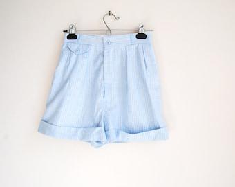 80s High Waist Shorts, Vintage Pleated Shorts, Pastel Stripe, Pinstripe, Cuffed Shorts, Cotton Shorts, Mom Shorts, Small