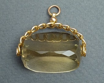9 ct English citrine spin fob
