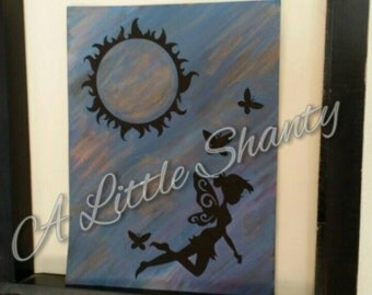 """6"""" x 8"""" Sun and Butterfly Fairy Arcylic painting"""