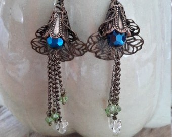 Summers Delight - Copper Trumpet Floral Dangle Earring with Swarovski Beads