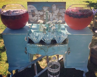For HIRE... NEWCASTLE NSW...            Rustic soft drink/punch bar station