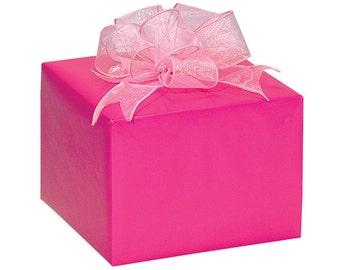 Hot Pink Gloss Christmas Script Gift Wrap Paper -15ft