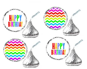HAPPY BIRTHDAY Rainbow Party Favor Hershey's Kisses Stickers / Labels -216ct