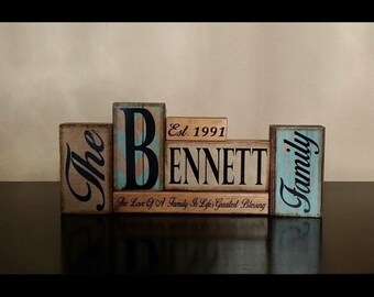 Family Block Set, Wooden Block Set, Personalized wedding gift, Wooden Home Decor