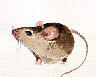 mouse original watercolor painting woodland animals art mouse art 28,2x21cm (approx.11.24x8.4inch)