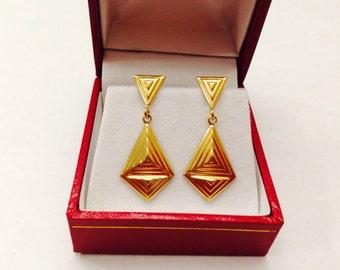 18K Geometric pattern Earrings