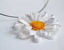 """Paper Quilled """"Daisy"""" Necklace Pendant // Yellow, White // Handmade, Eco-Friendly // Pendant, Choker // 2.25 in drop"""