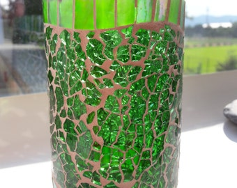 Mosaic candleholder,  from recycled winebottle nr. 284