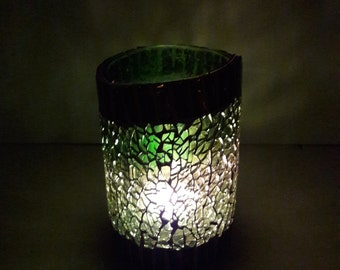 Mosaic candleholder,  from recycled winebottle nr. 257