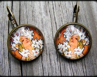 french style earrings - Alphonse Mucha (5)