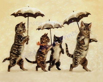 Cats Walking with Umbrella's in the Rain Vintage Print 8 1/2 x 11 Digital Download Printable Art Commercial Use Scrapbooking Printables