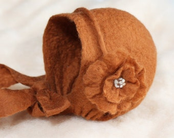 Felted Baby Bonnet with Flower Tieback Newborn Photography Photo prop