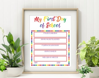 First Day Of School Sign Reusable - Printable Back to School Sign - Milestone Sign  First Day Of School Board  First Day Of School Printable