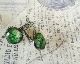 Bright green foliage drop earrings