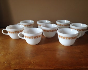 Vintage Pyrex Butterfly Gold Pattern 8 Coffee Cups