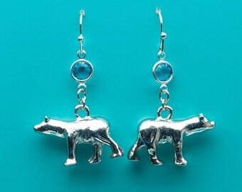 Polar Bear Earrings, Polar Bear Earrings, Sapphire Crystal Earrings, Dangle Earrings, Gifts for Her, 638