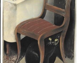 Black Cat Art Print by Gary Kelley from Edgar Alan Poe series