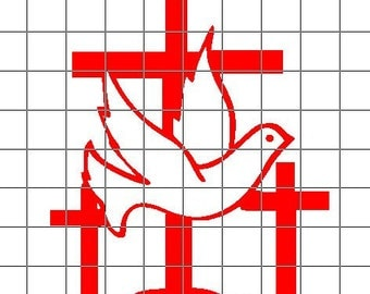 Cross with Dove Vinyl Decal / Sticker *Available in 24 colors* | crosses | dove |