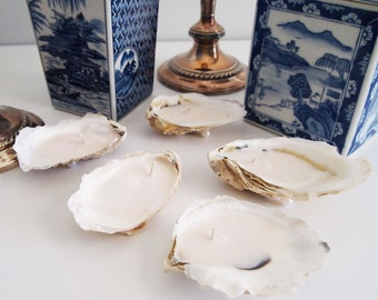 Set of 5 Medium Soy Oyster Shell Candles