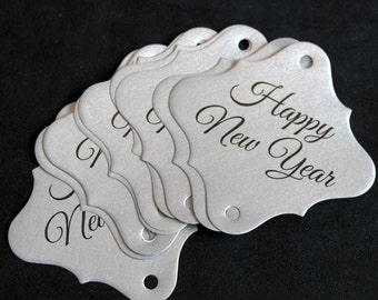 36pc Silver Happy New Years Sparkler Tags