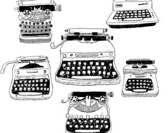 Vintage Typewriters Clipart - Immediate Digital Download